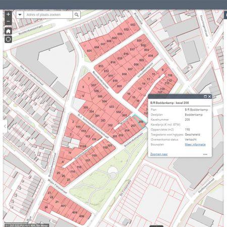Een uitverkocht Boddenkamp op de website van de gemeente Enschede. De informatie wordt live uit TotalLink gehaald en gepresenteerd.